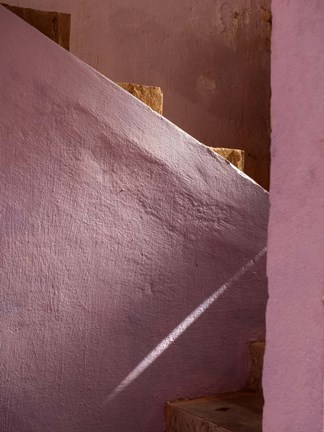 Framed Pink Painted Stairway near Ouarzazate, Morocco Print