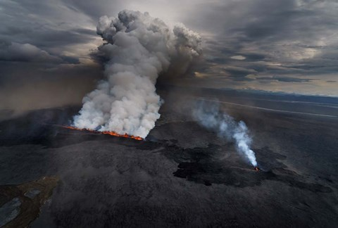 Framed Lava and Plumes from the Holuhraun Fissure, Iceland Print
