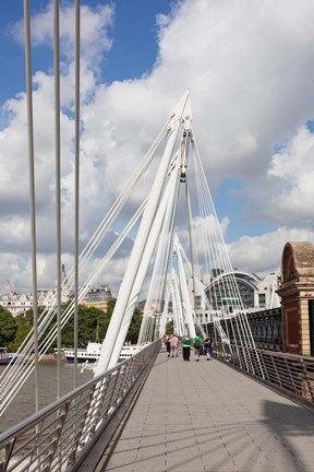Framed Golden Jubilee Bridge, Thames River, London, England Print