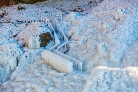 Framed Frozen Staircase by Seljalandsfoss Waterfall, Iceland Print