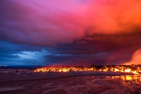 Framed Glowing Lava and Skies at the Holuhraun Fissure, Iceland Print