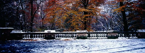 Framed Snow Covered Balcony in Central Park, New York City Print