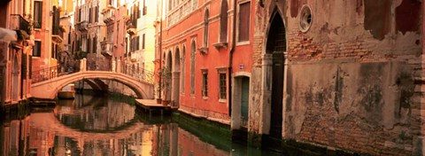 Framed Building Reflections In Water, Venice, Italy Print