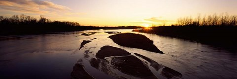 Framed Platte River at Sunset, Nebraska Print