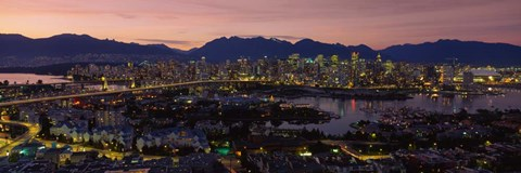Framed Vancouver at Dusk, British Columbia, Canada Print