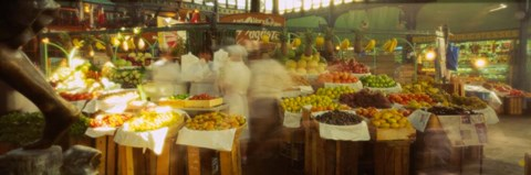 Framed Fruits And Vegetables Market Stall, Santiago, Chile Print