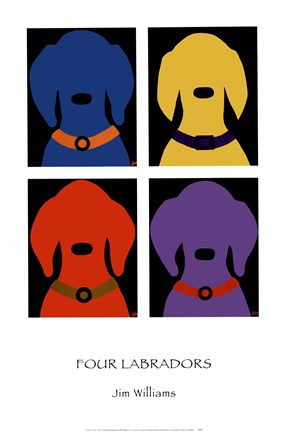 Framed Four Labradors Print