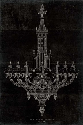Framed Ornamental Metal Work Chandelier Print