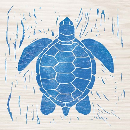 Framed Sea Creature Turtle Blue Print