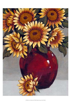 Framed Vase of Sunflowers II Print