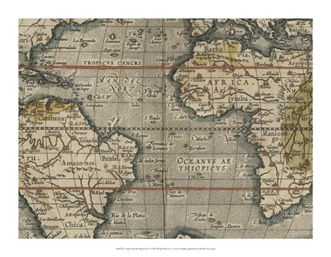 Framed Antique World Map Grid V Print