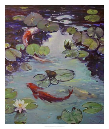 Framed Red Koi & Lilies Print