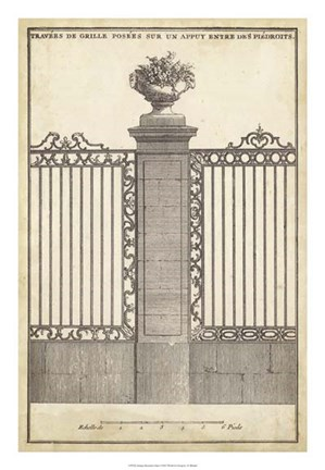 Framed Antique Decorative Gate I Print