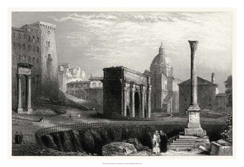 Framed Antique View of Rome Print