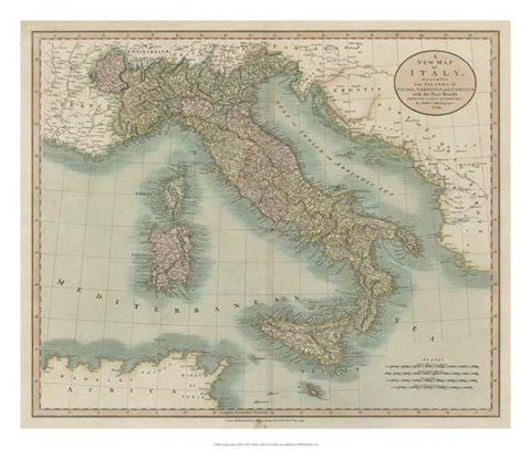 Framed Vintage Map of Italy Print