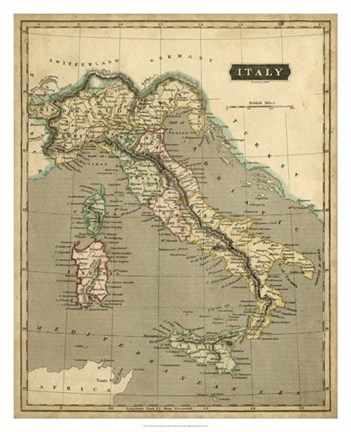 Framed Thomson's Map of Italy Print