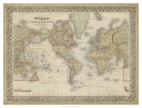 Framed Mitchell's World Map Print