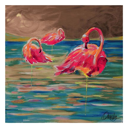 Framed Trio Flamingos Print