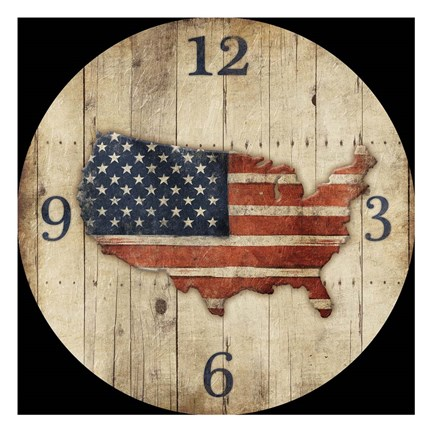 Framed Wooden US Map Clock Print