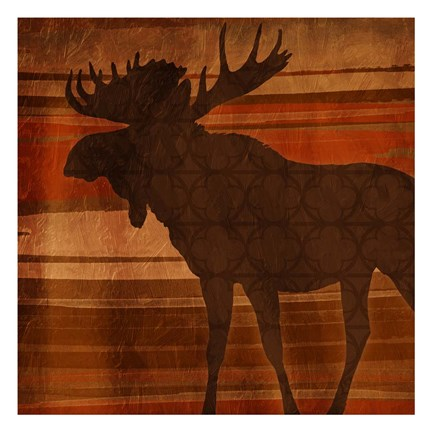Framed Moose Stripes Print