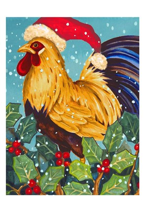 Framed Christmas Rooster Print
