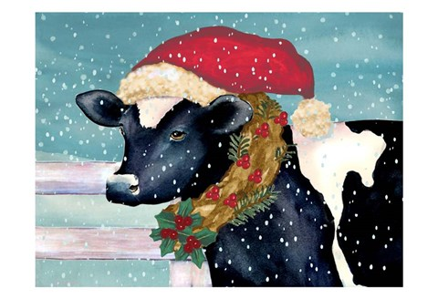 Framed Christmas Cow Print