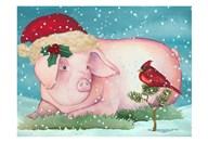 Christmas Pig And Friend  Fine Art Print