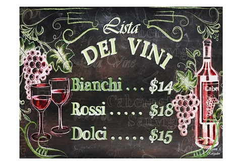 Framed Vino and Grapes Chalkboard Menu Print
