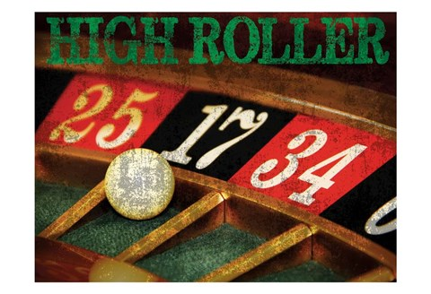 Framed High Roller Casino Grunge 1 Print