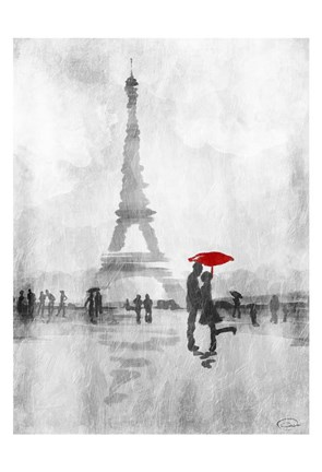 Framed Paris In The Rain Print
