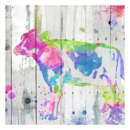 Framed Cow Colorful Print