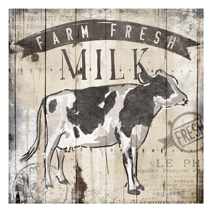Framed Farm Fresh Milk Print