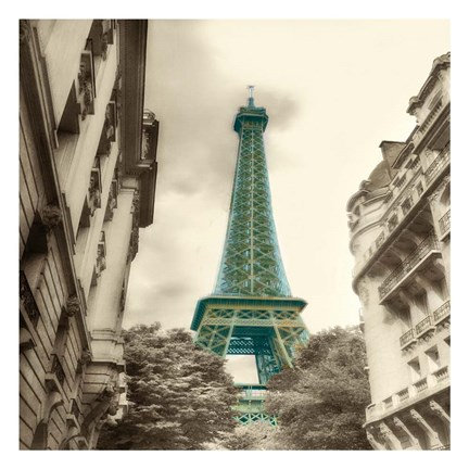 Framed Teal Eiffel Tower 2 Print