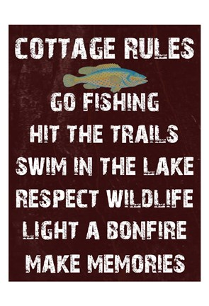 Framed Cottage Rules Print