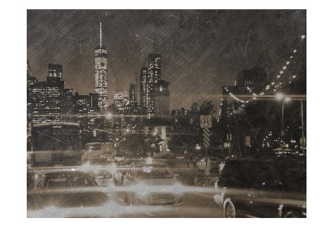 Framed Night Life @ Brooklyn Brdg Park Print