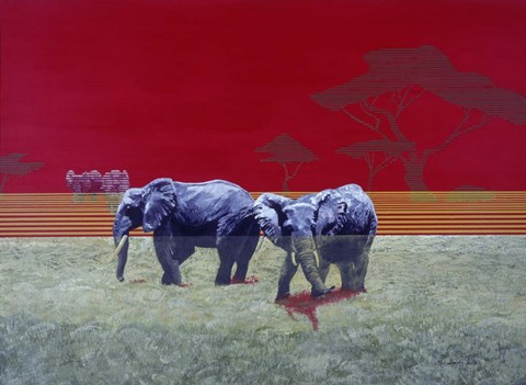 Framed Elephants With Red Sky Print