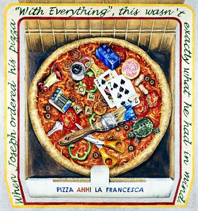 Framed Pizza With Everthing Print