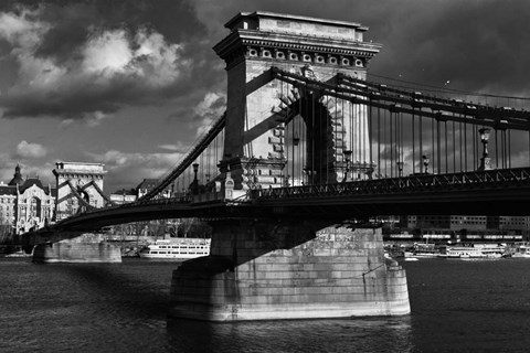 Framed Budapest Chain Bridge BW Print