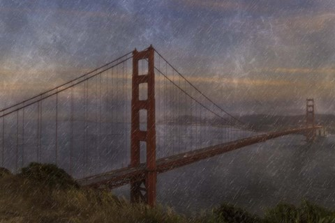 Framed Golden Gate Bridge Rain Painterly Print