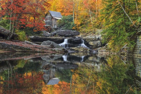 Framed Grist Mill In The Fall Print