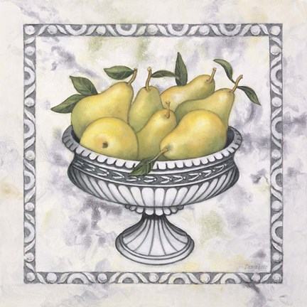 Framed Pears In A Silver Bowl Print