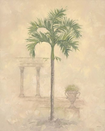 Framed Palm With Architecture 1 Print
