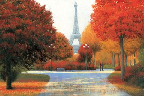 Framed Autumn in Paris Couple Print