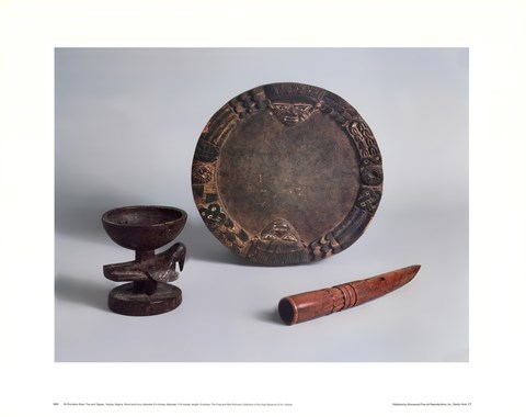 Framed Ifa Divination Bowl, Tray & Tapper Print