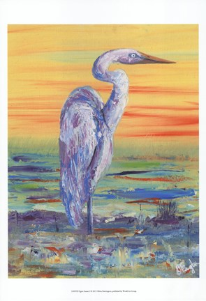 Framed Egret Sunset I Print