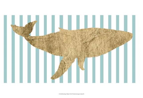 Framed Pin Stripe Whale I Print