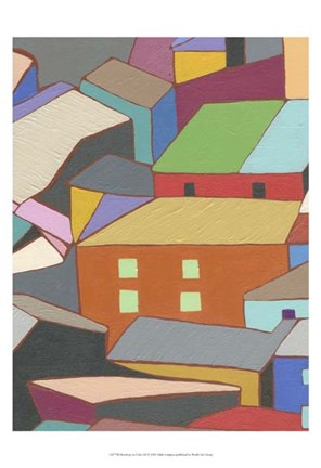 Framed Rooftops in Color III Print
