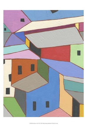 Framed Rooftops in Color XII Print