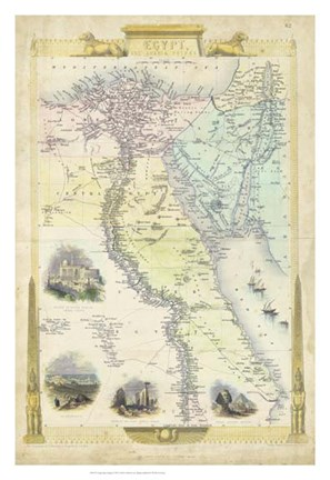 Framed Vintage Map of Egypt Print