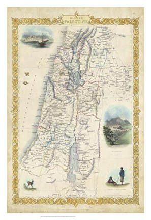 Framed Vintage Map of Palestine Print